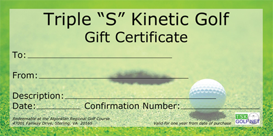 Triple S Kinetic Golf Gift Certificates For Golf Lessons Buy